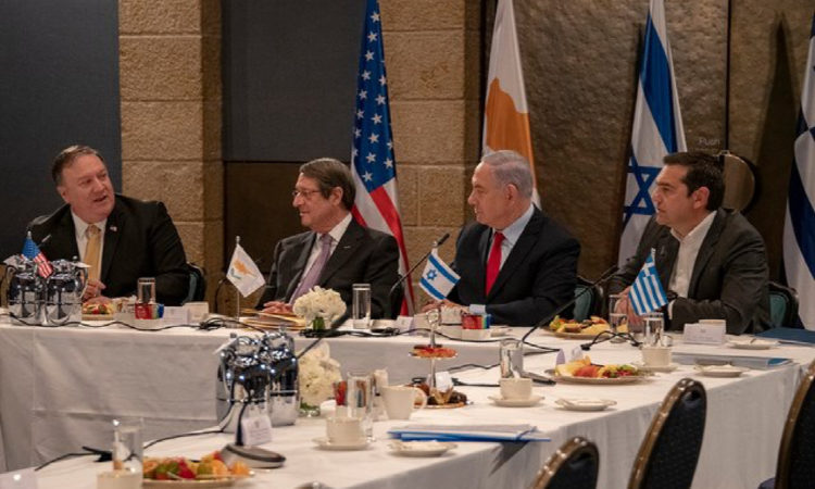LtoR; U.S. Secretary of State Mike Pompeo, President of the Republic of Cyprus Nicos Anastasiades, Israeli Prime Minister Benjamin Netanyahu, and Greek Prime Minister Alexis Tsipras