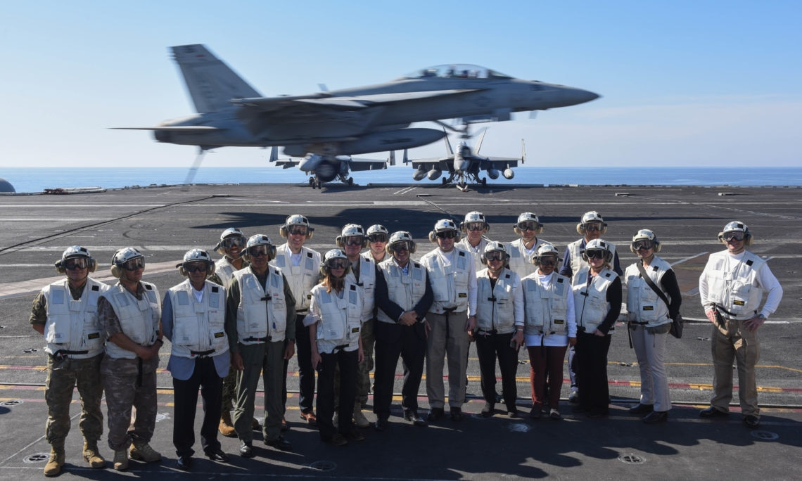 Defense Minister Angelides visited the USS aircraft carrier Harry Truman